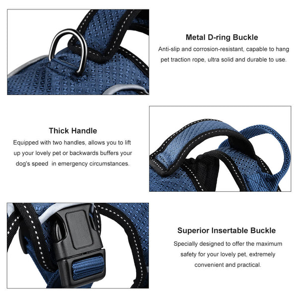 Petacc Breathable Pet Harness Adjustable Dog Chest Strap Practical Dog Vest with D-Ring Buckle, Suitable for Medium and Large-Sized Dogs - Petacc