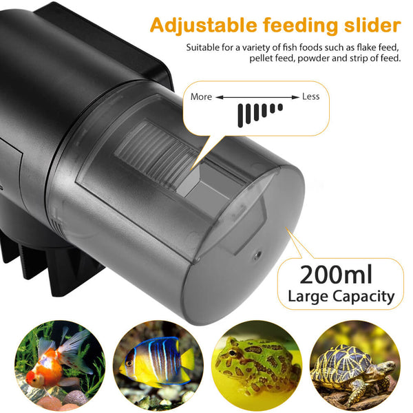 Petacc Automatic Fish Feeder Programmable Fish Food Dispenser Multi-functional Fish Food Timer with Digital Display Screen, 200mL Capacity, Black - Petacc