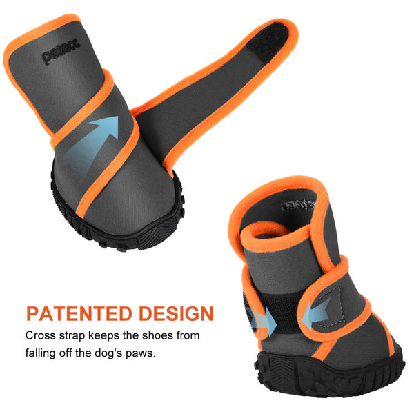 Petacc Dog Boots Waterproof Dog Shoes Pet Rain Boots Outdoor Shoes with Rugged Anti-Slip Sole, 4Pcs - Petacc