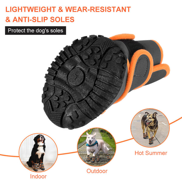 Petacc Dog Boots Waterproof Dog Shoes Pet Rain Boots Outdoor Shoes with Rugged Anti-Slip Sole, 4Pcs, Light Grey - Petacc