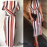 JESSICA- Striped Twist Front Midi