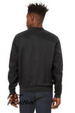 Bomber Jacket - Unisex Lightweight Black Zip Up Bomber U.S.A Made