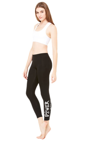 Leggings. Girl Power. High-Waisted Compression Fit. Girl Power (White)