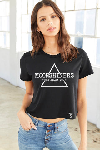 Womans Short Sleeve Made in U.S.A Cropped Tee - Moonshiners