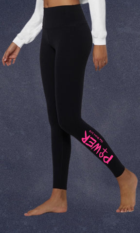 Leggings. Girl Power. High-Waisted Compression Fit. Girl Power (Pink)