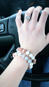 Peach Bead Bracelet Set worn by woman