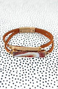 Faux Leather and Stone Bracelet