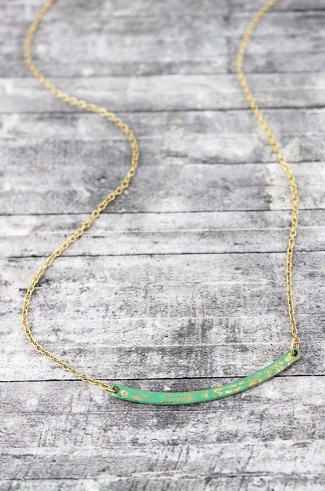 Curved Patina Bar Necklace