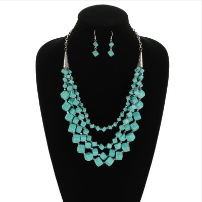 Western Layered Stone Necklace Set on mannequin