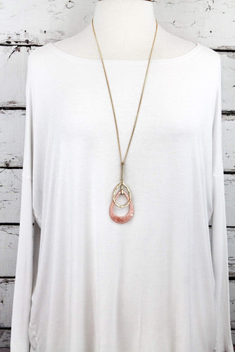 Double Teardrop Pendant Necklace on mannequin