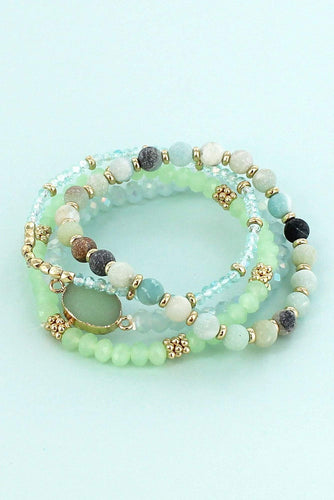 Green Druzy Stone and Bead Bracelets