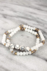 Howlite and White Bead Bracelets