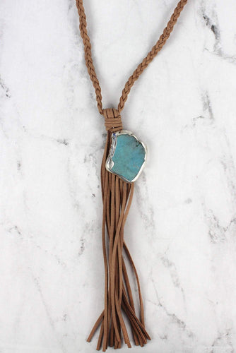 Suede Necklace with Tassel and Stone Charm