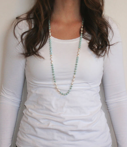 Woman wearing Mint and Pearl Beaded Necklace