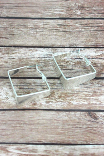 Silver Square-hoop earrings