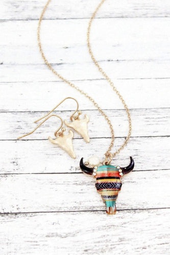 Southwestern Stripes Steer Head Necklace Set