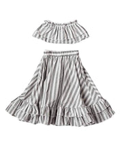 Load image into Gallery viewer, Gray & White Striped Skirt and Top