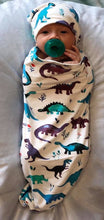 Load image into Gallery viewer, Swaddle Sack & Beanie - Dinosaurs