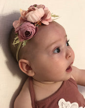 Load image into Gallery viewer, Floral Stretch Headband - Mauve