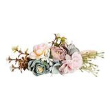 Floral Stretch Headband - Mauve & Seafoam
