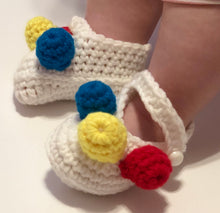 Load image into Gallery viewer, Crochet Baby Shoes - White Mary Janes