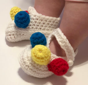 Crochet Baby Shoes - White Mary Janes