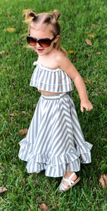 Gray & White Striped Skirt and Top