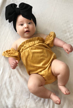 Load image into Gallery viewer, Cold Shoulder Flutter Sleeve Romper - Golden Yellow