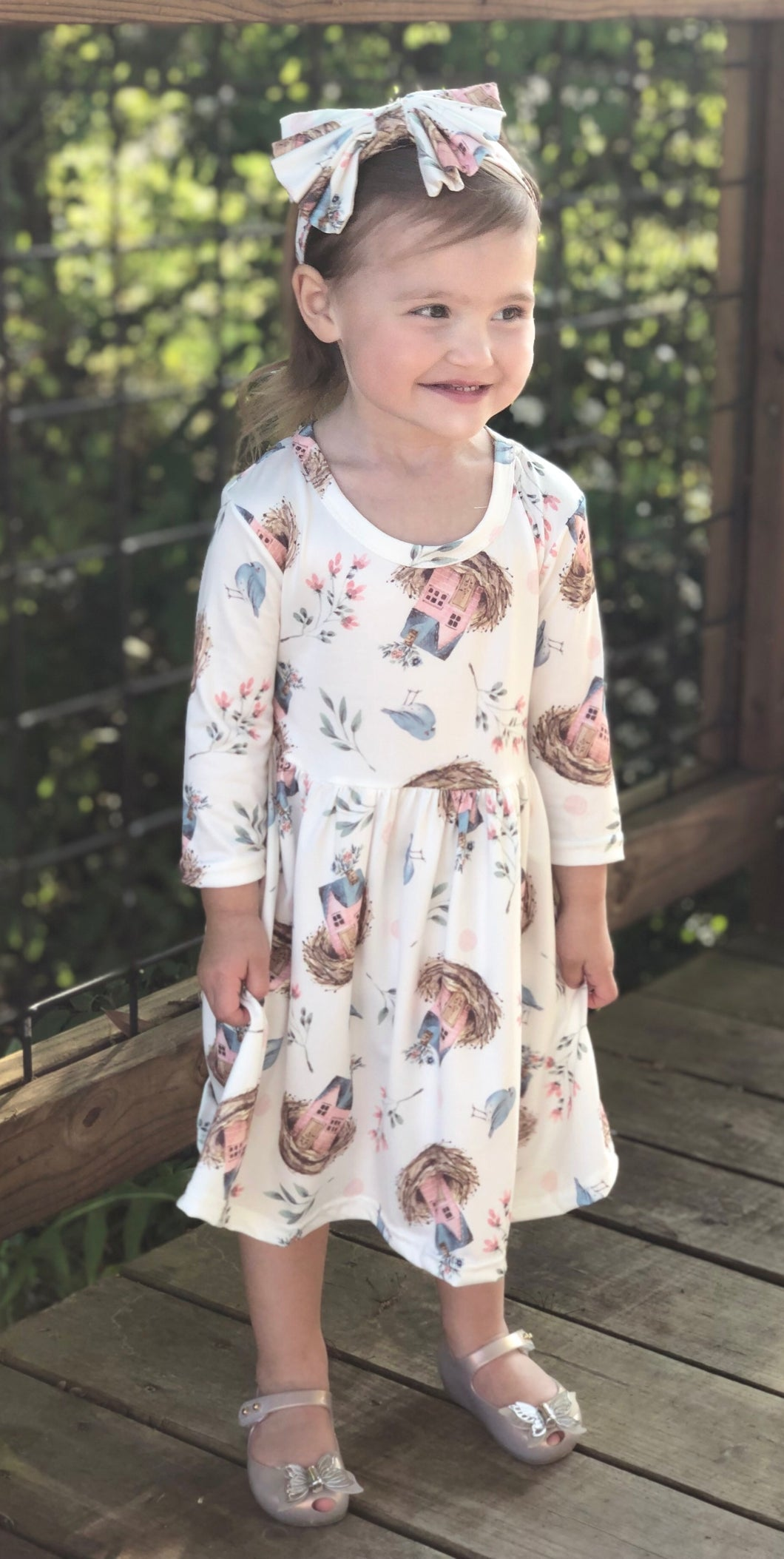 Birdhouse Pleated Dress + Bow