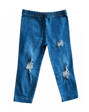 Load image into Gallery viewer, Distressed Denim Jeggings