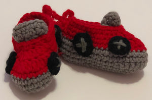 Crochet Baby Shoes - Red Car