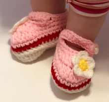 Load image into Gallery viewer, Crochet Baby Shoes - Pink Mary Janes