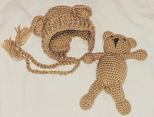 Load image into Gallery viewer, Crochet Bonnet & Teddy Bear - Brown