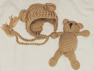 Crochet Bonnet & Teddy Bear - Brown