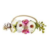 Floral Stretch Headband - Ivory & Fuchsia
