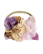 Load image into Gallery viewer, Floral Stretch Headband - Tan & Mauve