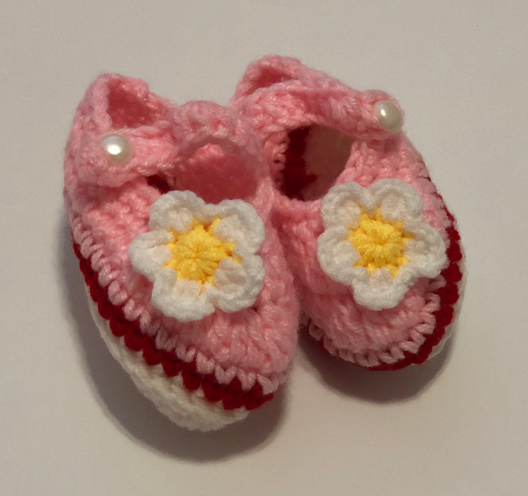Crochet Baby Shoes - Pink Mary Janes