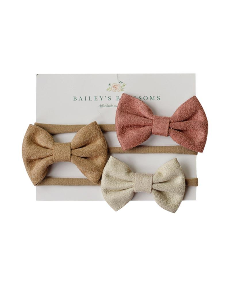 Leather Bow Headband 3 Pack - Mauve, Tan & Ivory