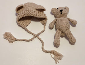 Crochet Bonnet & Teddy Bear - Cream