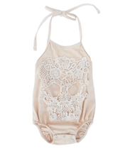 Load image into Gallery viewer, Lace Skull Halter Romper