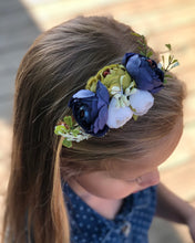 Load image into Gallery viewer, Floral Stretch Headband - Navy & Lime