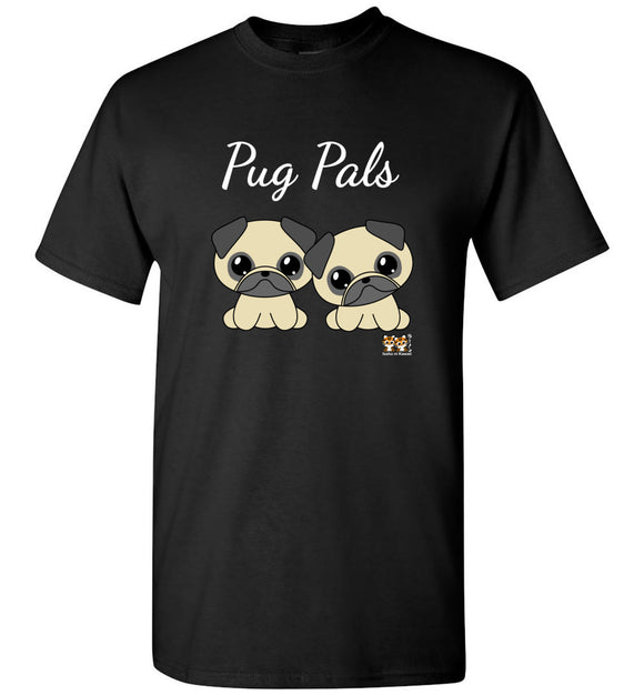 Pug Pals Unisex Adult or Youth Tee Tshirt T-shirt white text - Issho ni Kawaii cute together