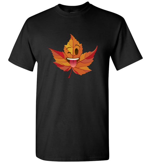 Wink Emoji Leaf Fall Adult or Youth Unisex Tee Shirt T-shirt Tshirt