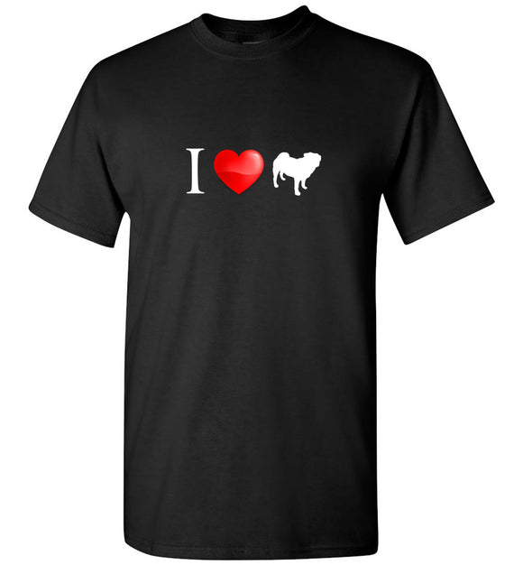 I Heart Love Pugs Unisex Adult or Youth Tee Tshirt T-shirt white text