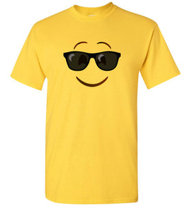 Shades Sunglasses Emoji Yellow Unisex Adult or Youth Tee Shirt T-shirt Tshirt