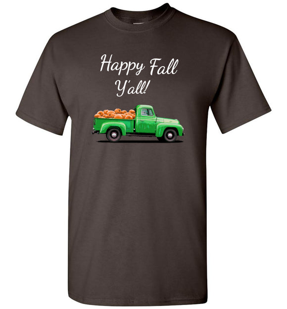 Happy Fall Y'All Green Pumpkin Truck Unisex Adult or Youth Tee Shirt T-shirt Tshirt white text
