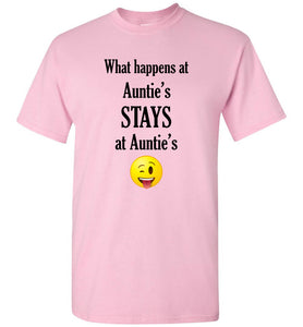 What Happens at Auntie's Stays at Auntie's Emoji  Youth Unisex Tee Shirt T-shirt Tshirt - Order by 12/10 for Christmas