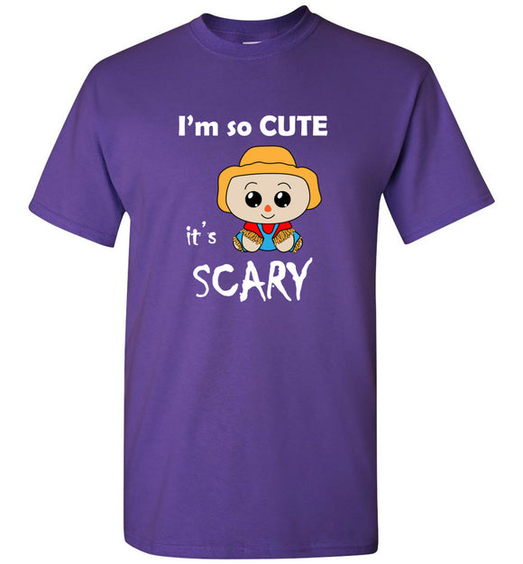 I'm So Cute It's Scary Scarecrow Youth Tee Shirt T-shirt Tshirt - white txt