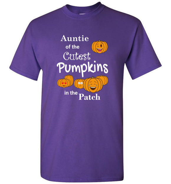 Auntie of the Cutest Pumpkins in the Patch Adult Unisex Tee Shirt T-shirt Tshirt - white text