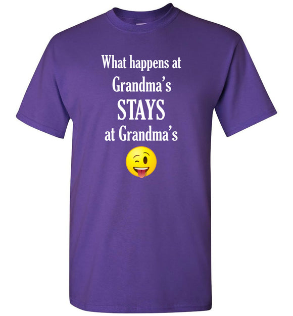 What Happens at Grandma's Stays at Grandma's Emoji  Youth Unisex Tee Shirt T-shirt Tshirt - white text - Order by 12/10 for Christmas